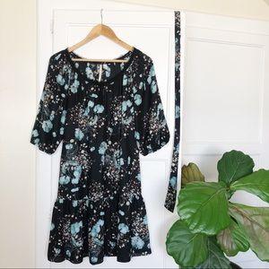 Lauren Conrad Silky Black Floral Mini Dress Size 6